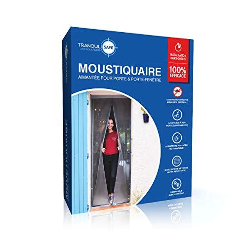 Moustiquaire ajustable aimantée TRANQUILISAFE® pour portes et portes fenêtres – moustiquaire magnétique – moustiquaire porte automatique – moustiquaire compatible chatière (L 80/96 - H 217/225)