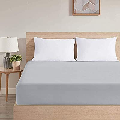 Light Grey Fitted Sheets Queen Size Bed | Deep Pocket Bottom Queen Bed Fitted Sheet Only | Cozy Soft Brushed 1800 Microfiber with Elastic Cover Mattress Size Up to 18""