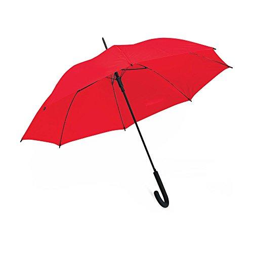 eBuyGB Automatische Winddicht met Zwarte Rubber Crook Handvat Wandelen Regenstok Paraplu, Rood, 40