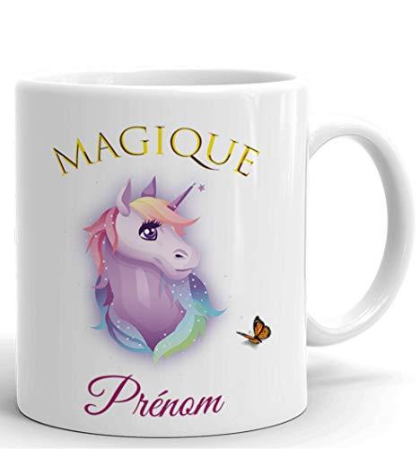 Tasse-Mug Licorne Personnalisable avec Prénom- Idée Cadeau Personnalisé Original Anniversaire Fête Ami et Famille