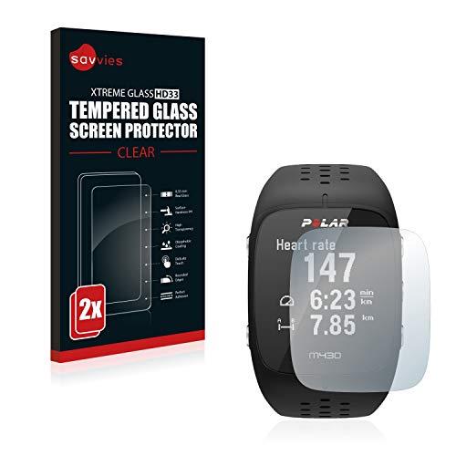savvies Cristal Templado Compatible con Polar M430 (2 Unidades) Protector Pantalla Vidrio Proteccion 9H Pelicula Anti-Huellas