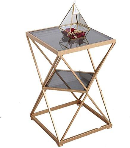 N/Z Home Equipment Aktenschränke Nachttisch Nachttisch Square Double 2 Tiered Glass Tisch Couchtisch Wohnzimmer Balkon Sofa Ecktisch Rack Nachttisch Beistelltisch (Farbe: Klarglas Gold)