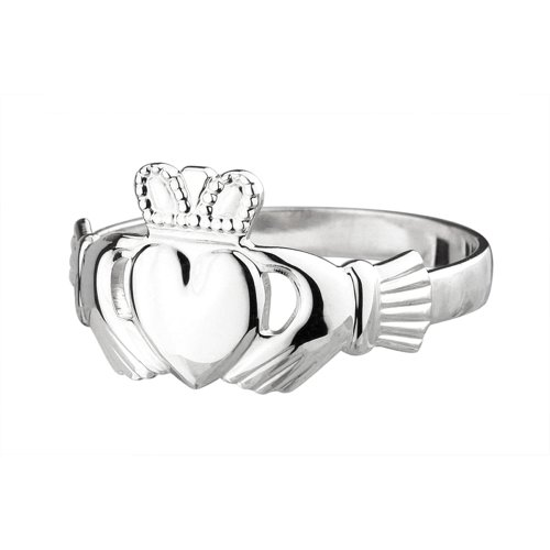 Womens Claddagh Ring Made in Ireland Classic Sterling Silver Traditional Claddagh Design Fine Details Made in Co. Dublin by Maker-Partner Solvar Size 7