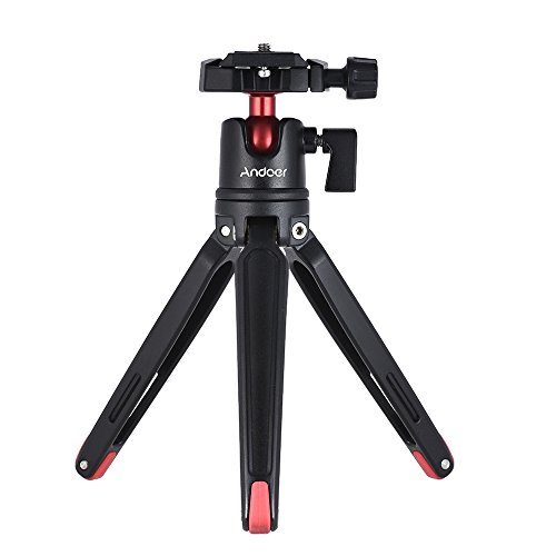 Andoer Mini Tabletop Tripod Stand with Ball Head Compatible with Canon Nikon Sony DSLR Mirrorless Camcorder Compatible with iPhone X 8 7 Plus 7s 6s Samsung Huawei Honor 9 Smartphone