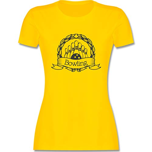 Bowling & Kegeln - Bowling Lorbeerkranz - M - Gelb - L191 - Damen T-Shirt Rundhals