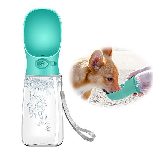 Eastlion Botella de Agua para Perros Grande,550ML Gatos Portátil Dispensador de Agua con Contenedor de Comida,a Prueba de Fugas,Mascotas Botella para Beber para al Aire Libre Viajar Caminar(Azul)