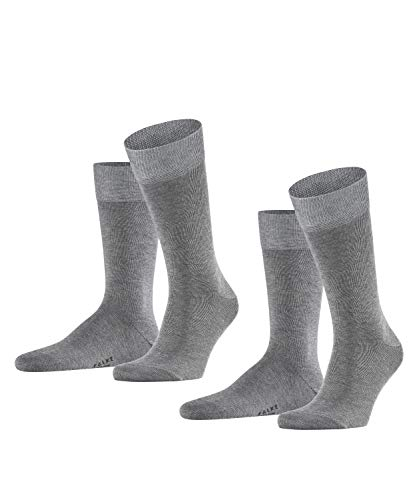 FALKE Herren Happy 2-Pack M SO Socken, Grau (Light Grey Melange 3390), 43-46 (2er Pack)