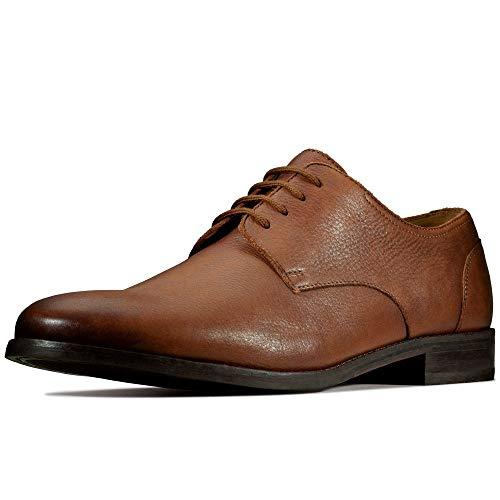 Clarks Herren Flow Plain Derby, Braun (Tan Leather Tan Leather), 41 EU