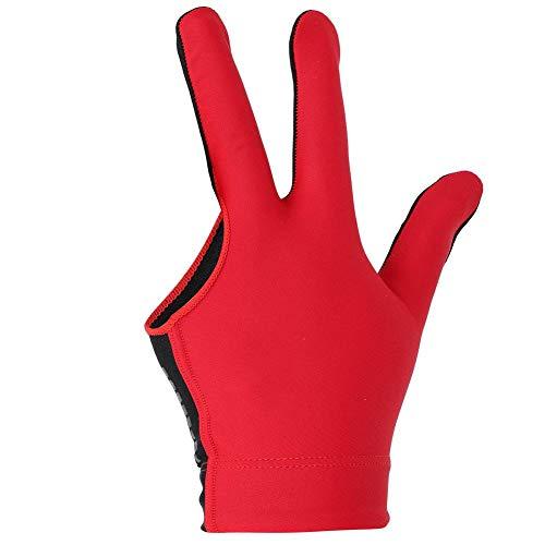 Alomejor Billard Shooters Handschuhe Lef Hand 3 Finger Handschuh Pool Snooker Queue Handschuhe(Rot)