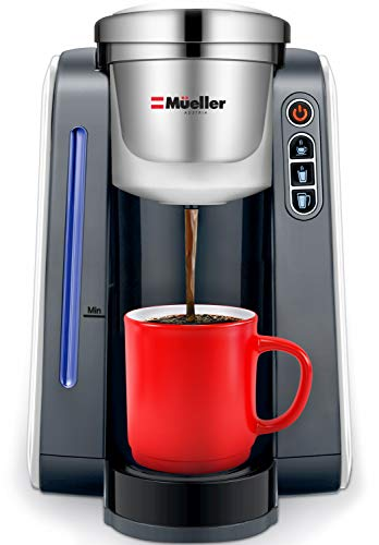 Mueller Single Serve Pod Compatible Coffee Maker Machine With 4 Brew Sizes, Rapid Brew Technology with Large Removable 48 oz Water Tank