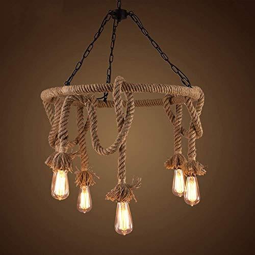 LHQ-HQ Domo luz loft vintage lámpara creativa país americano pastoral cafetería bar restaurante hierro arte artes6 cabeza guita lámpara de techo decoración del hogar