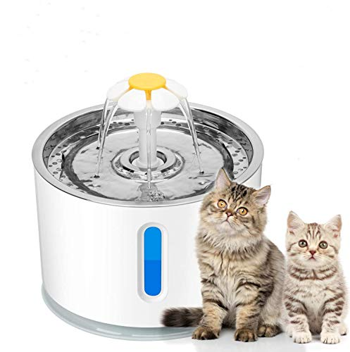 Chasehill Cat Dog Water Fountain, Ultra Quiet Water Level Window with LED...