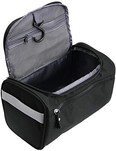 FIF Hanging Travel Toiletry Bag Organizer & Bathroom Hygiene Dopp Kit with Hook,Black