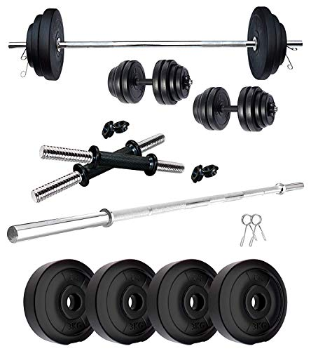 ASP Fitness 12 KG Home Gym Combo of PVC Dumbbell Plate Set with 3 Ft Straight Rod Exercise & Fitness Sets (Weight 3 kg X 4= 12 kg)