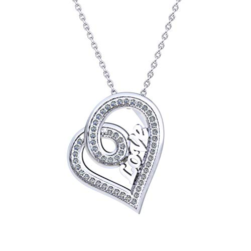0.255 Carat IGI Certified Diamond Heart Pendant Necklace for Women in 925 Sterling Silver (H-I Color, SI2-I1 Clarity)