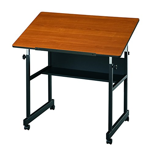 Alvin Table Black Base with Woodgrain Top (MM36-3-WBR)