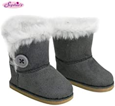 Sophia's Stylish 18 Inch Doll Boots Fits 18 Inch American Girl Dolls & More Doll Shoes of Gray Suede Style Boots W/ Button & White Fur by My Doll's Life