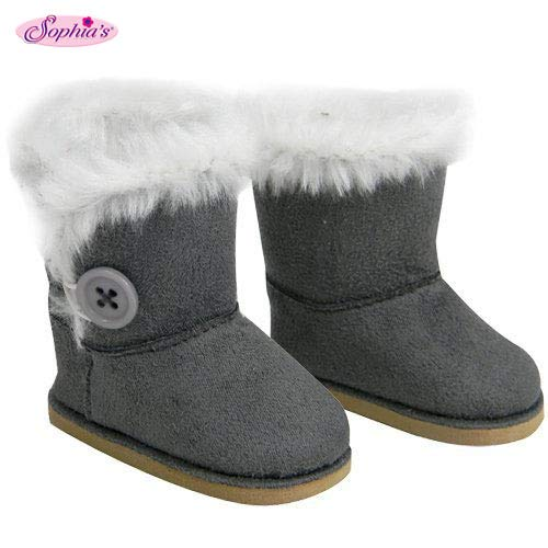 Sophias Stylish 18 Inch Doll Boots Fits 18 Inch American Girl Dolls & More Doll Shoes of Gray Suede Style Boots W/ Button & White Fur by My Dolls Life