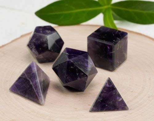 Excel 5Pc Set Purple Amethyst Platonic Solids-Sacred Geometry Stone Carving Crystal