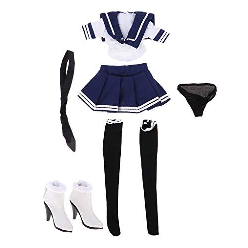 dailymall 1/6 Seemann Uniform Kleider Rock mit High Heel Schuhe Einsatz für 12 Zoll Action Figur