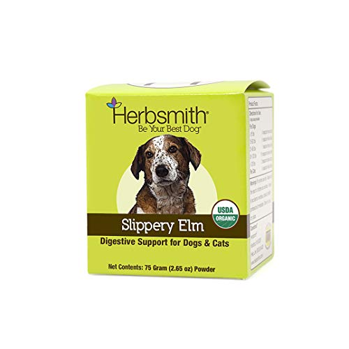 Herbsmith Organic Slippery Elm - Digestive Aid for Dogs and Cats - Constipation and Diarrhea Relief for Dogs and Cats - Megaesophagus Dog Aid- 75g