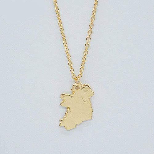 BACKZY MXJP Collar Irlanda Mapa Estados Colgante Collar Irlanda Mapa Nacional Encanto Collar Patriota Joyería