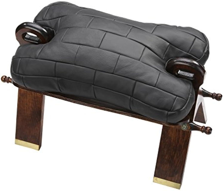 KC-Handel Kamelhocker Sitzkissen Leder Holz Hocker 75x46x35cm in 6, Farbe Schwarz