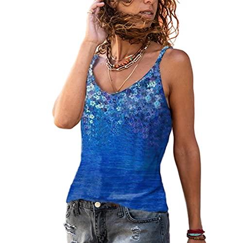 Elesoon Camisola Camis Tops Verano Flor Estampado Floral Boho Étnico Sin Mangas Tirantes Sling T-Shirt Blusa Tank, A-azul oscuro., 42