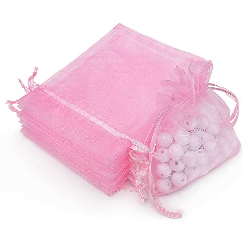 """Akstore 100Pcs 2.8""""x3.6""""(7x9cm) Sheer Drawstring Organza Jewelry Pouches Wedding Party Christmas Favor Gift Bags (Pink)"""