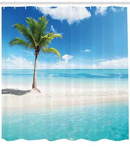 123456789 Ocean Decor Scenery Shore zonlicht palmboom foto stof douchegordijn