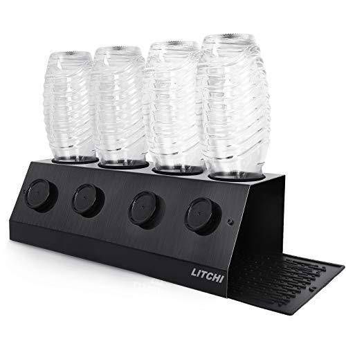Litchi Flaschenhalter Abtropfgestell Abtropfständer,Abtropfhalter,gebürstetem Edelstahl,mit Deckelhalter Flaschenständer für SodaStream Crystal und Emil Flaschen (schwarz, 4er)…