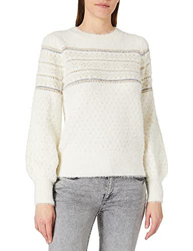 Springfield Jersey Jacquard Dorados Pelo Suéter, Beige, XL para Mujer
