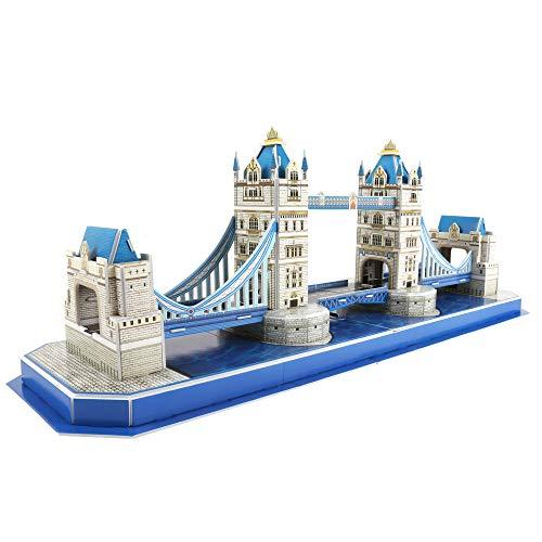CubicFun 3D Puzzle UK London Tower Bridge Architektur Gebäude Modell Landmark Kit Geschenk für Kinder und Erwachsene, 52 Teile