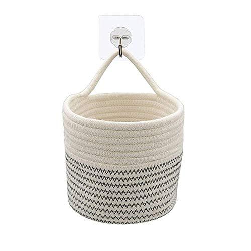 Cotton Rope Plant Basket Cute Cotton Rope Basket-Closet Storage Bins - Hanging Basket - Baby Nursery Organizer - for Crafts Toys Towels (15x15, No Plant)