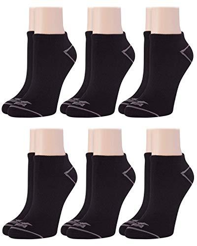 Avia Women's Pro Tech Microfiber Mesh Vent Cushioned Low Cut Socks (6 Pack), Size Shoe Size: 4-10, Black