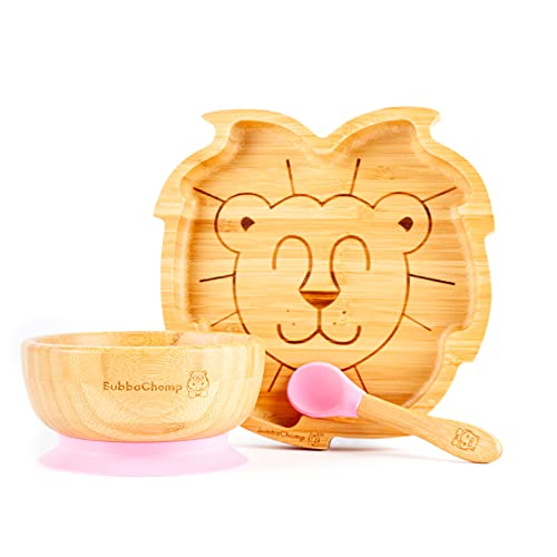 BubbaChomp Baby Weaning Set   Lion   Bamboo Suction Plate + Bamboo Suction Bowl + Spoon   Stay Put Bowl & Plate (Pink)