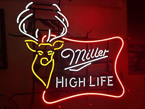 Queen Sense 20'x16' Miller High Life Outdoors Deer Buck Stag Neon Sign (VariousSizes) Beer Bar Pub Man Cave Business Glass Lamp Light DC341