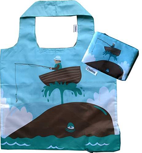 Chilino Faltbare Einkaufstasche, groß und stabil, umweltfreundlich, 100% Polyester, Fischer, blau, 47x41