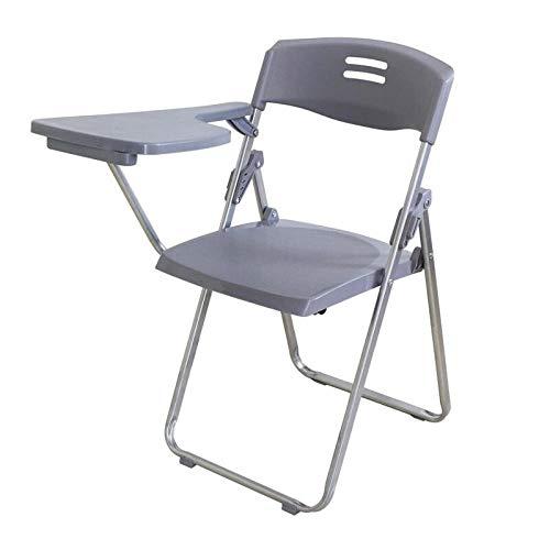 Gangkun Trainingsstoel, vergaderstoel klapstoel, plastic computerstoel met schrijfbord Grijs