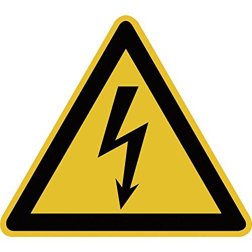 Elektro-Warnschild gefährliche Spannung | Symbol: Blitz | selbstklebend | gelb/schwarz | 1 Stück