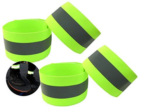 Premium Reflektorband mit erhöhter Sichtbarkeit | Klettverschluss Elastisch Einstellbar für Erwachsene Kinder Joggen Fahrrad Reiten Hosenklammer Outdoor Leuchtband Knöchel | Neon-Gelb