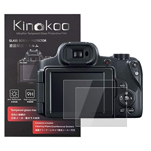kinokoo Película de Vidrio Templado para Canon PowerShot SX60 HS/SX70 HS Crystal Clear Film Protector de Pantalla Canon sin Burbujas/antiarañazos (Paquete de 2)