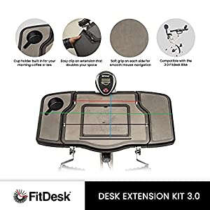 """FitDesk Desk Extension Kit for 3.0 Exercise Bike, 4010 - Table Top Standing Desk with Table and Cup Holder, Mousepad Space - No Hardware and Easy Mounting - Can Fit Up to 17"""" Laptop"""
