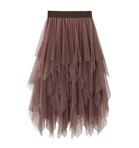 Falda de tul de color sólido Irregular falda de malla de tul elástico, marrón, Talla única