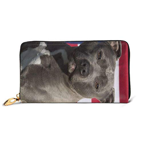 IUBBKI Carteras de Piel Carteras de Mujer and Dog Leather Wallet For Women Zip Around Wallet Clutch Thick Large Capacity Custom Print Wallets Travel Phone Checkbook Coin Card Holder