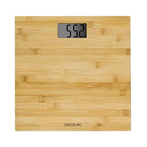 Cecotec Báscula de baño digital Surface Precision 9300 Healthy. Plataforma de bambú (eco-friendly), Pantalla LCD, Capacidad máxima de 180kgr, Lista para usar, Cinta métrica.