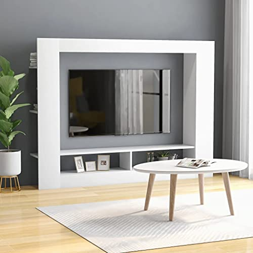 vidaXL Mueble para TV Armario de Televisión Aparador Auxiliar Comedor Salón Sala de Estar Habitación Robusto Moderno de Aglomerado Blanco