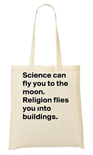 Science Can Fly You To The Moon Religion Flies You Into Buildings Tragetasche Einkaufstasche