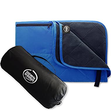 Down Under Outdoors Premium Large Waterproof, Windproof, Quilted Fleece Stadium Blanket, Machine Washable, Camping, Picnic & Outdoor, Beach, Dog, 82 x 55 inches (blue/grey)