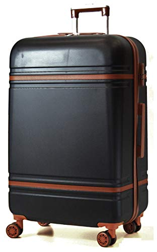 Starlite Luggage ABS147 Hard Shell Suitcase 4 Wheel Spinner (Medium, Black)